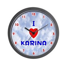 I Love Karina (Red/Bl) Valentine Wall Clock