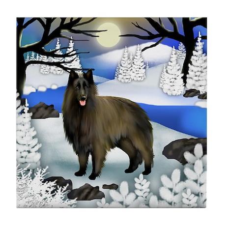 Belgian Tervuren Dog Frozen River Tile Coaster