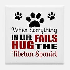 Hug The Tibetan Spaniel Tile Coaster