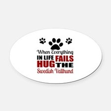 Hug The Swedish Vallhund Oval Car Magnet