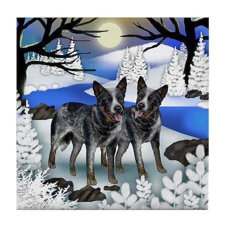 AUSTRALIAN CATTLE DOGS FROZEN RIVER Tile Coaster