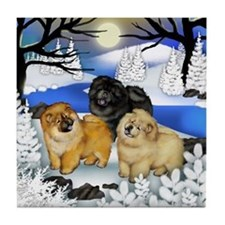 CHOW CHOW DOGS FROZEN RIVER Tile Coaster