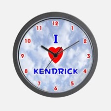 I Love Kendrick (Red/Bl) Valentine Wall Clock