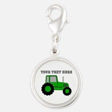 Personalized Green Tractor Silver Round Charm