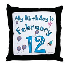 February 12th Birthday Throw Pillow