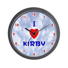I Love Kirby (Red/Bl) Valentine Wall Clock
