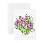Purple Tulips Greeting Cards