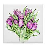 Purple Tulips Tile Coaster