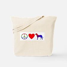 Peace, Love, Dogo Argentino Tote Bag