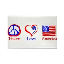 Peace Love America Rectangle Magnet