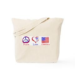 Peace Love America Tote Bag