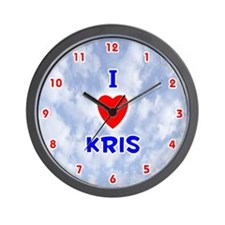 I Love Kris (Red/Bl) Valentine Wall Clock