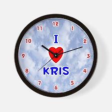 I Love Kris (Red/Bl) Valentine Wall Clock