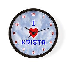 I Love Krista (Red/Bl) Valentine Wall Clock