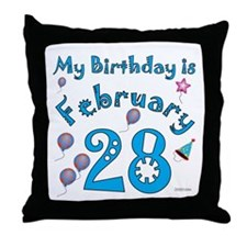 February 28th Birthday Throw Pillow
