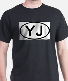YJ - Initial Oval Ash Grey T-Shirt