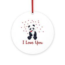 Panda Bear Valentine Ornament (Round)