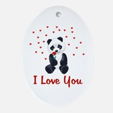 Panda Bear Valentine Oval Ornament