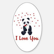 Panda Bear Valentine Oval Decal