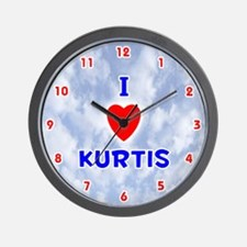 I Love Kurtis (Red/Bl) Valentine Wall Clock