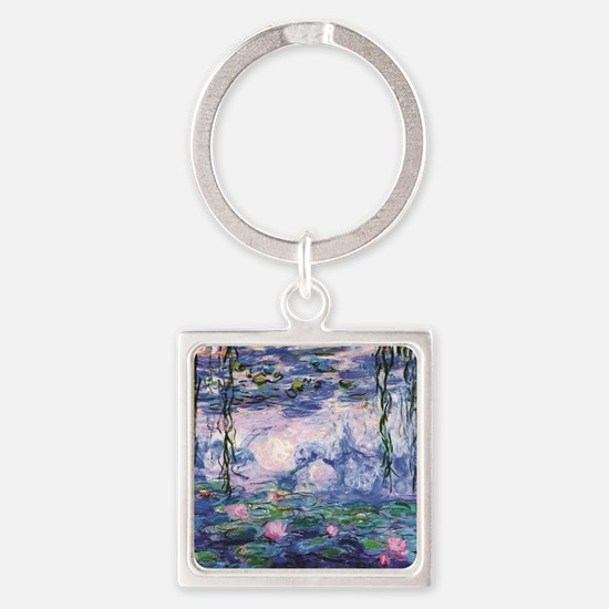 Cute Water lilies Square Keychain