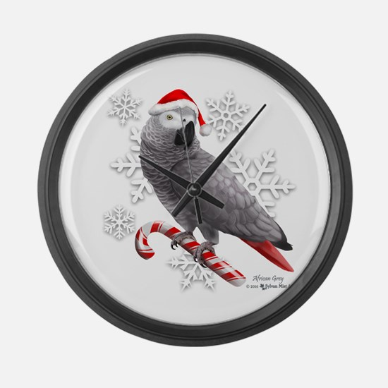 Christmas African Grey Parrot Large Wall Clock