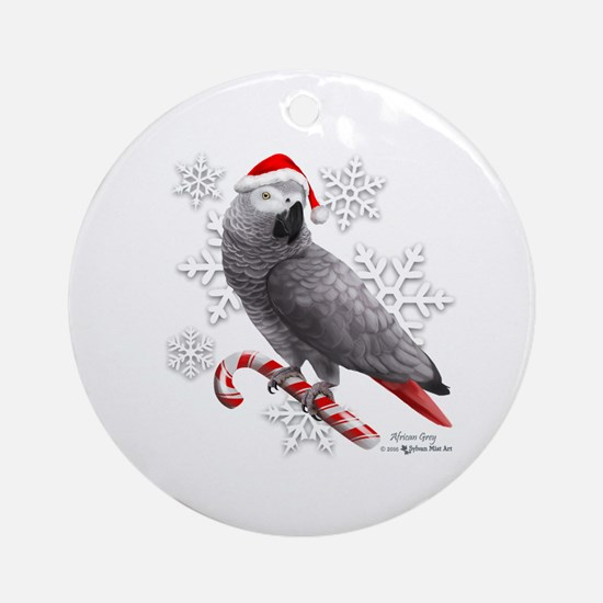 Christmas African Grey Parrot Round Ornament