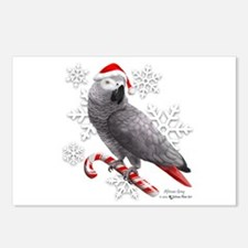 Christmas African Grey Pa Postcards (Package of 8)
