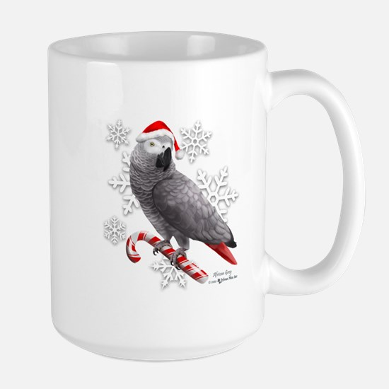 Christmas African Grey Parrot Mugs