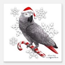 "Christmas African Grey P Square Car Magnet 3"" x 3"""