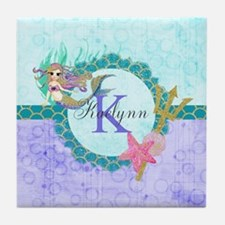 Personalized Monogram Mermaid Tile Coaster