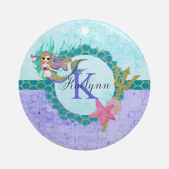 Personalized Monogram Mermaid Round Ornament
