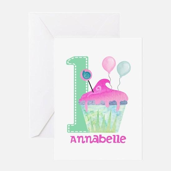 Baby Girl 1st Birthday Greeting Cards