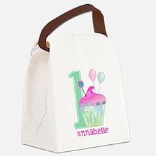 Baby Girl 1st Birthday Canvas Lunch Bag