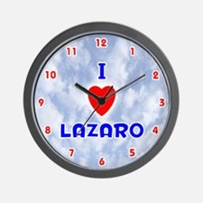 I Love Lazaro (Red/Bl) Valentine Wall Clock