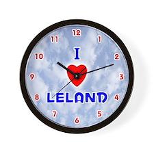 I Love Leland (Red/Bl) Valentine Wall Clock