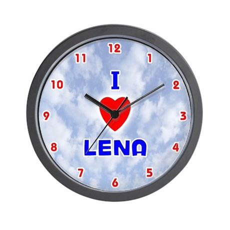 I Love Lena (Red/Bl) Valentine Wall Clock