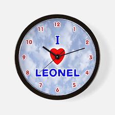 I Love Leonel (Red/Bl) Valentine Wall Clock