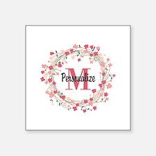 "Personalized Floral Wreath Square Sticker 3"" x 3"""