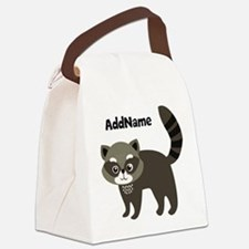 Personalized Name Mr. Raccoon Kid Canvas Lunch Bag