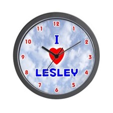 I Love Lesley (Red/Bl) Valentine Wall Clock