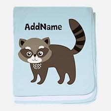 Personalized Name Mr. Raccoon Kids baby blanket