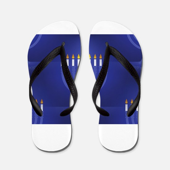 blue happy hannukah Flip Flops