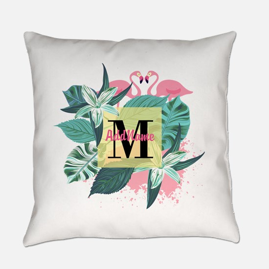 Personalized Flamingo Monogrammed Everyday Pillow