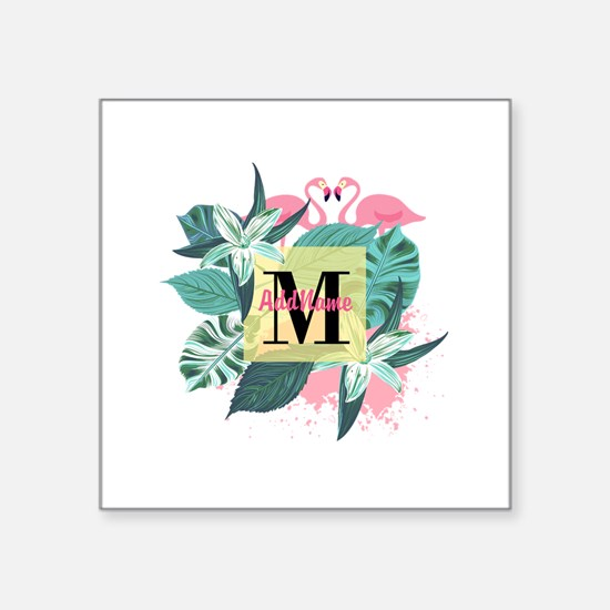 "Personalized Flamingo Monog Square Sticker 3"" x 3"""