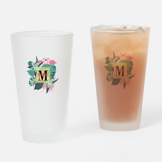 Personalized Flamingo Monogrammed Drinking Glass
