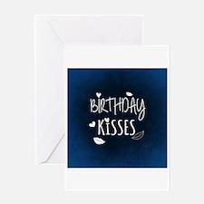 Birthday Kisses (Blue) Greeting Cards