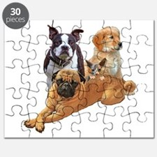 Dog posse with a hairless cat Puzzle