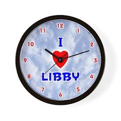 I Love Libby (Red/Bl) Valentine Wall Clock