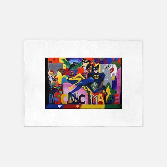 Colorful Sonic Man Graffiti 5'x7'Area Rug